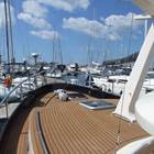 Foredeck - show deep safe bulwarks and non - skid decks