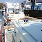 Aft deck trunk and dinghy storage area