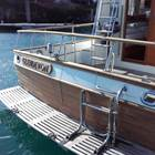 'Stipped bare' Teak transom and safty rails