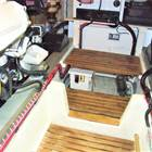 Teak slats in engine room floor